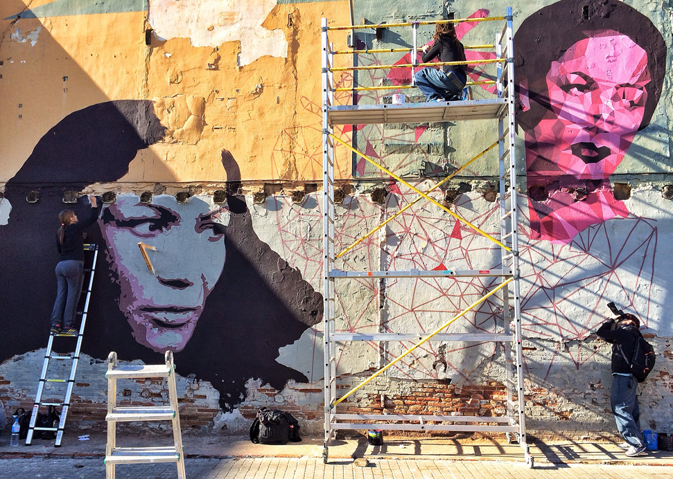 Carmen Amaya by Btoy and Uriginal,graffiti Barcelona 2013. Photo: Fernando Alcalá Losa